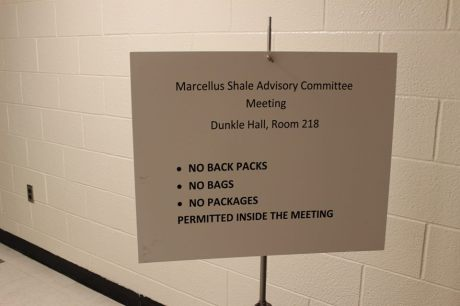 A new sign outside the state's monthly Marcellus shale advisory commission meeting. //photo by Savage Mountain Earth First!